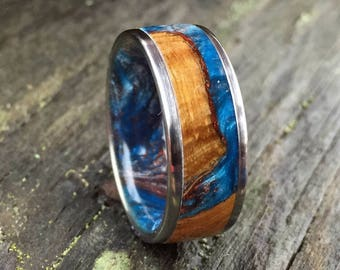 Titanium Wedding Ring, Cholla Cactus Wood Ring, Custom Ring, Blue Resin Ring, Copper Resin Ring, Wood Wedding Ring, Wood Anniversary Band