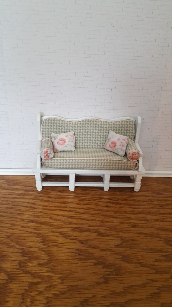 Dollhouse Shabby Chic Sofa Doll Shabby Couch Doll Bench 1 12 Scale Couch