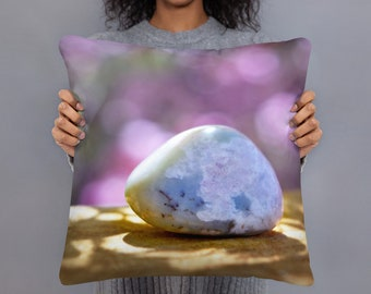 Square Throw Pillow - Peaceful Stone Pink Blossom, Soft Colors Accent Pillow