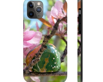 iPhone 11 Pro Tough Phone Case with Ocean Jasper stone and Cherry Blossoms