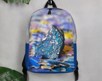 Blue Minimalist Backpack with Unique Design, Abstract Backpack featuring Peacock Ore