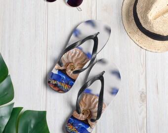 Ocean Theme Flip-Flops with Beautiful Ammonite Fossil Design
