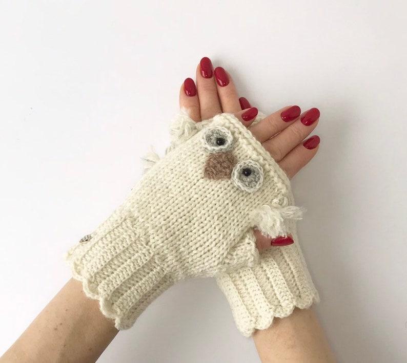 Beyaz eldivenler el yapımı eldivenler Sıcak eldivenler Baykuş Kış görüntüsü 2