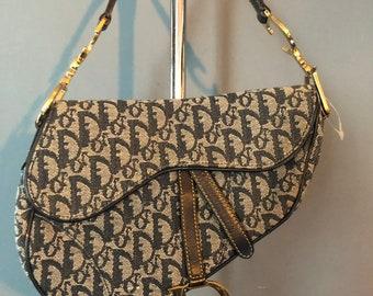 08ddf0d4b120 Christian Dior Oblique saddle bag monogram blue canvas