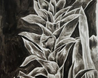 Original A4 Ink Painting, Kew Gardens, Black and White Painting, Drawing Inks Painting, Plant Painting, Tropical Rainforest Plants