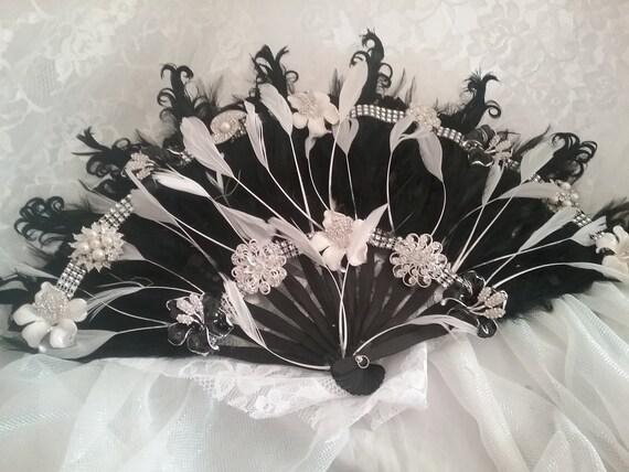 Fan Feather Bouquet Fan Bouquet Black And White Fan Bouquet Etsy