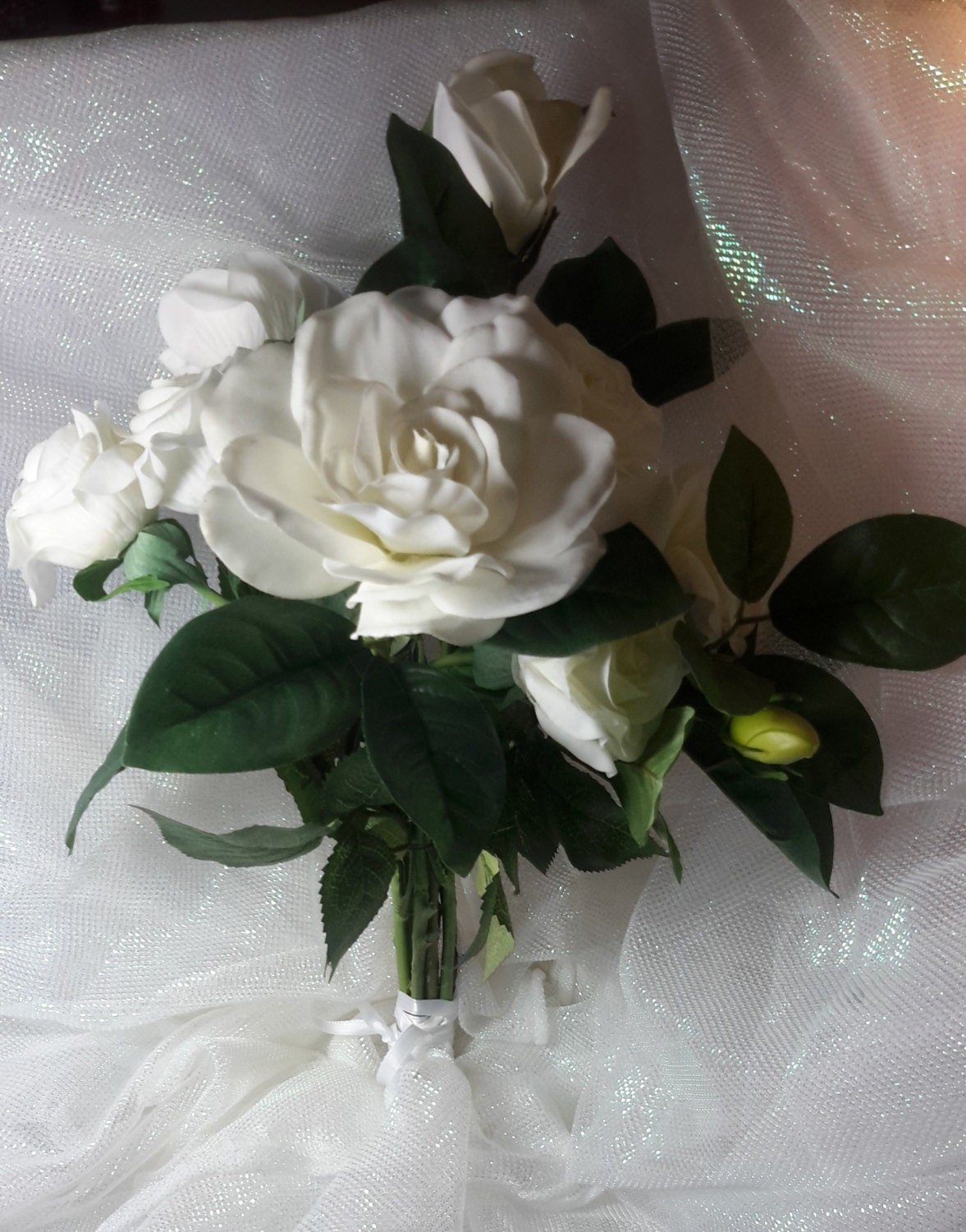 White Rose and Gardenia Bouquet, White Bouquet, White Bridal Bouquet, White  Wedding Bouquet,Gardenia Bouquet,Rose Bouquet, Rose and Gardenia