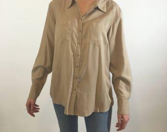 Oatmeal Silk Long Sleeve Button Up