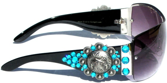 WESTERN Bling Crystals COWGIRL SUN GLASSES Silver Heart /& Turquoise Cross Concho
