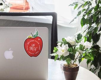 Autocollant de vinyle résistant à l'eau Un prof peut changer le monde illustration de pomme