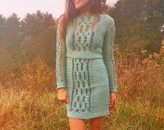 Crochet Pattern Magic Skirt and Sweater Set Sexy Cable PDF