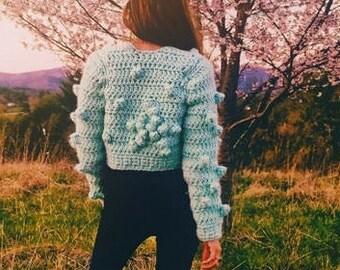 Crochet crop jacket star pattern with popcorn stitch - Stars