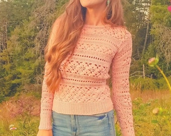 Crochet fitted crew neck sweater pattern -Lust