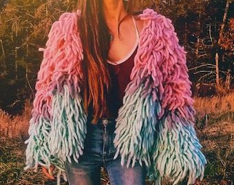 Crochet shag jacket pattern for women -Baby