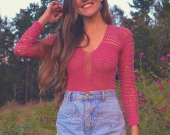 Crochet sweater pattern for women sexy plunge neck - Beyond