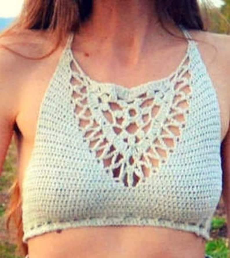 Crochet crop top / bikini top pattern  Emma image 0