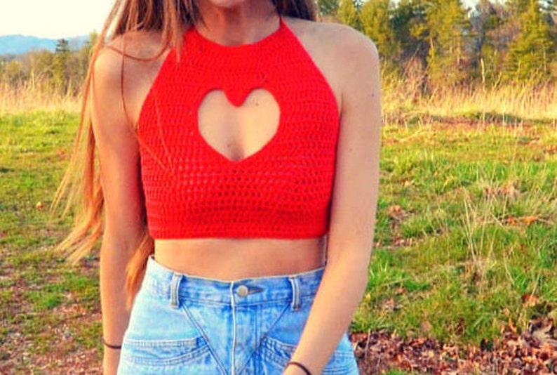 Crochet crop top halter pattern  heart cut out  Amor image 0