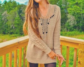 Crochet sweater dress pattern, Plunge lace neckline -Mountain