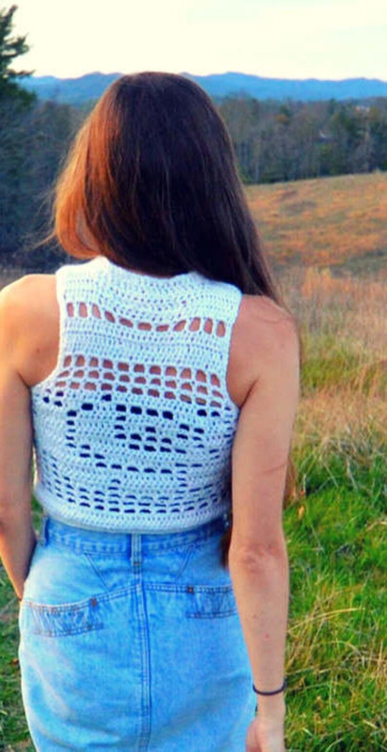 Crochet crop top crew neck pattern Existence image 1