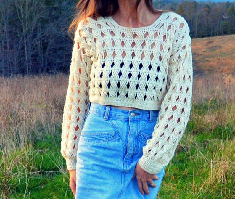 Crochet sweater crop top lacy cable pattern  Woodland image 0