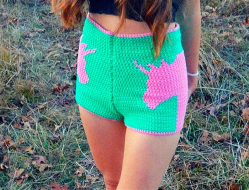Crochet shorts pattern with unicorn detail  legend image 0