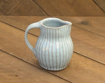 Carved Pitcher - Creamer Pitcher - Small Pitcher - Pottery Pitcher - Reduction - Celadon Glaze - Go Play Clay - Guiliotis - Made to Order