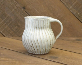 Carved Pitcher - Creamer Pitcher - Small Pitcher - Pottery Pitcher - Reduction - Tin White Glaze - Go Play Clay - Guiliotis - Made to Order