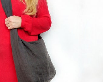 f3894f1653fb Grey Linen Hobo bag, Crossbody bag, boho bag, Shopper