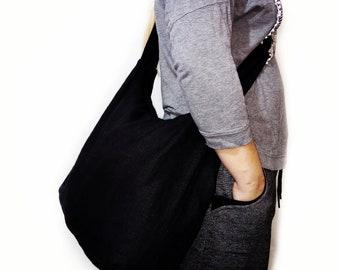60f11496cb22 Black Linen Hobo bag, Crossbody bag, boho bag, Shopper