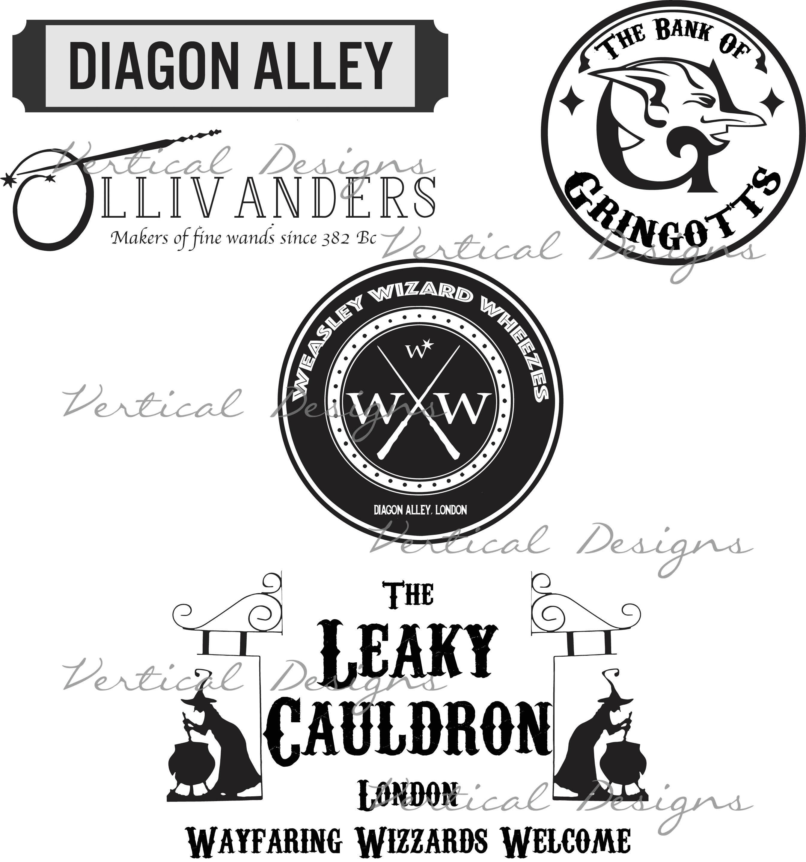 Diagon Alley Shops SVG | Etsy