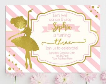 Ballerina invites etsy ballerina invitation ballerina birthday invitation ballerina party pink and gold girls birthday invitation ballet tutu invites filmwisefo