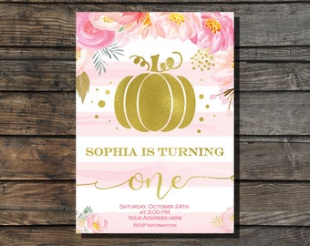 Little pumpkin birthday invitation Pumpkin birthday invite Fall birthday Girl first birthday invitation Halloween Birthday party pink  gold