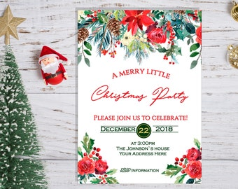 christmas party invitation christmas dinner rustic christmas etsy