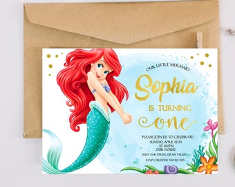 The Little Mermaid Birthday Invitation Invites Ariel Invitations Princess Disney Under Sea Printable