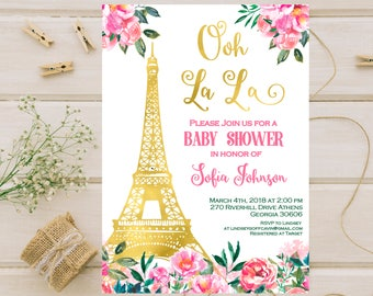 French Baby Shower Invitation Paris baby shower invitation Eiffel Tower Shower Invitation Girl baby shower invitation Floral - ooh la la