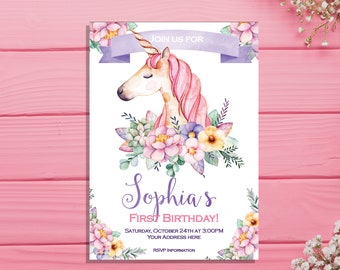 Unicorn Birthday Invitation Invites Watercolor Floral First Girl Party Magical Rainbow Invite