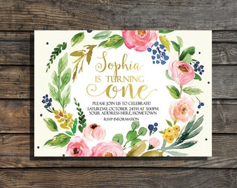 Garden party invite etsy first birthday invitation girls floral first birthday invites garden party watercolor gold foil 1st birthday invitation boho birthday filmwisefo
