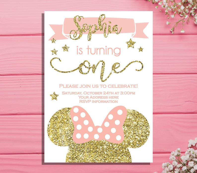 Minnie Mouse First Birthday Invitation Party