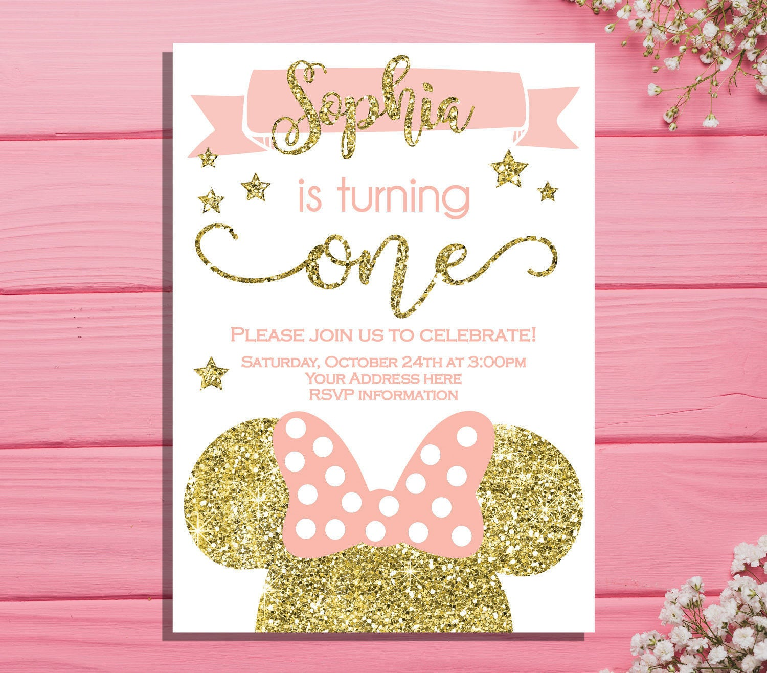 Minnie mouse first birthday invitation Minnie Birthday party | Etsy