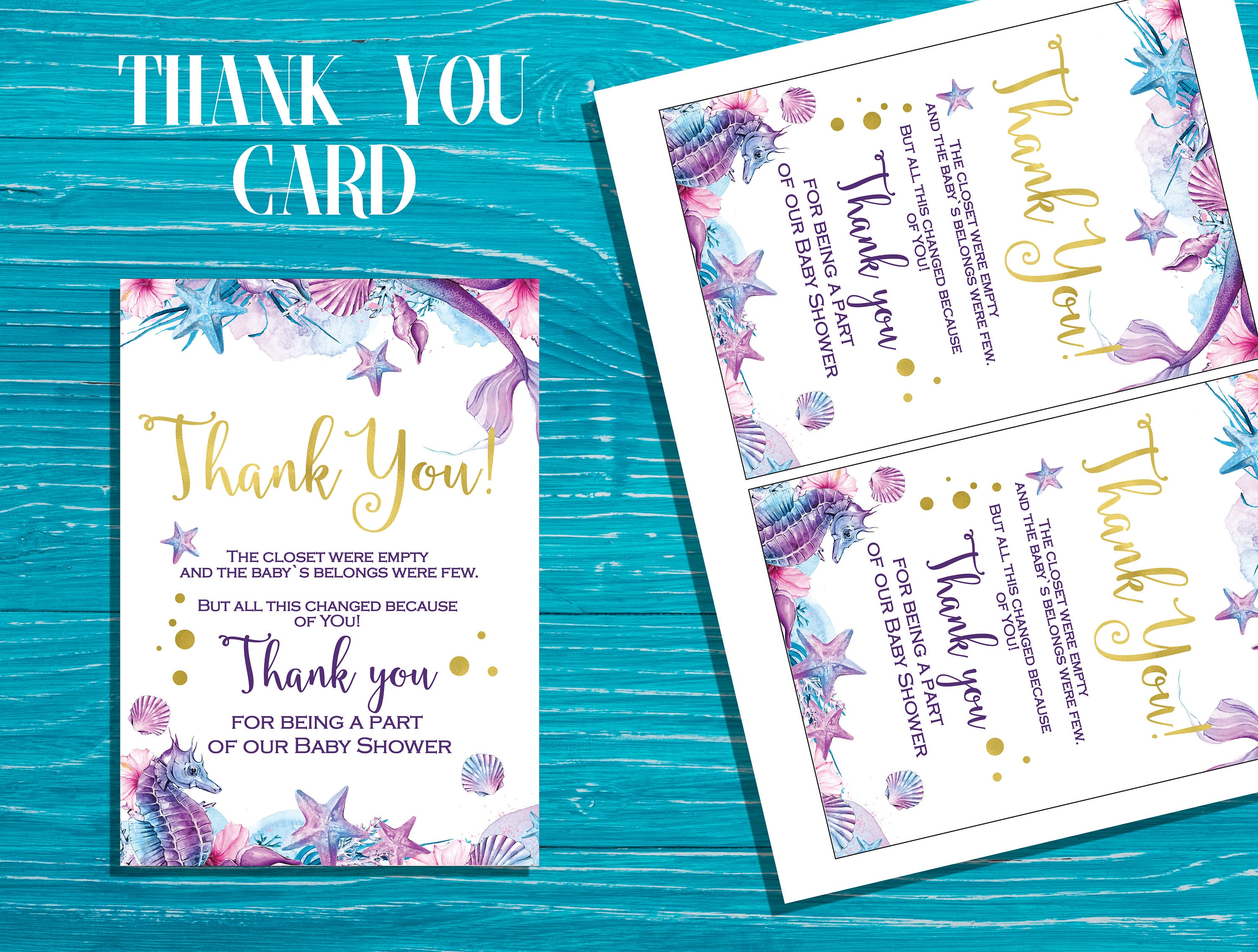Mermaid Baby Shower Thank You Cards Under The Sea Baby Shower Etsy