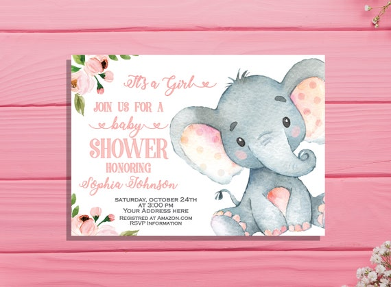 Girl Baby Shower Invitation Its A Girl Invitation Elephant Etsy