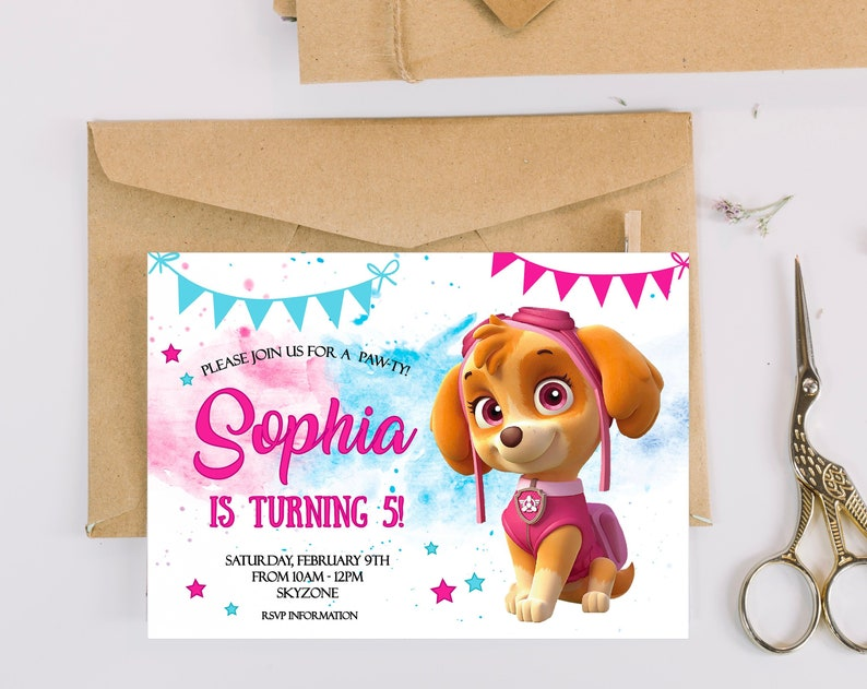 Paw Patrol Birthday Invitation Party Invites