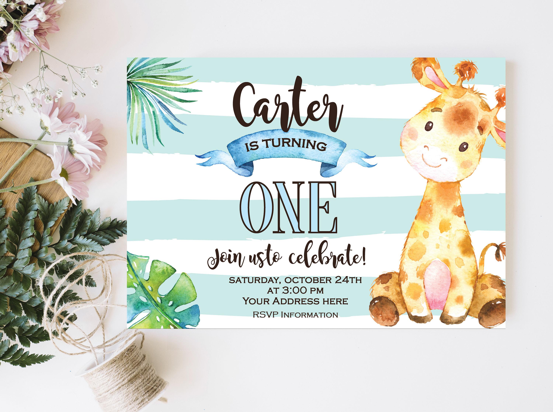 Giraffe boy birthday invitation safari jungle first birthday etsy zoom filmwisefo