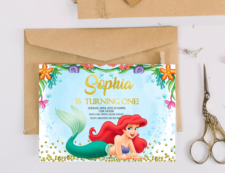 Ariel Birthday Invitation The Little Mermaid Birthday Etsy