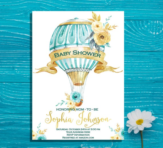 Baby shower invitation hot air balloon vintage boy baby etsy image 0 filmwisefo