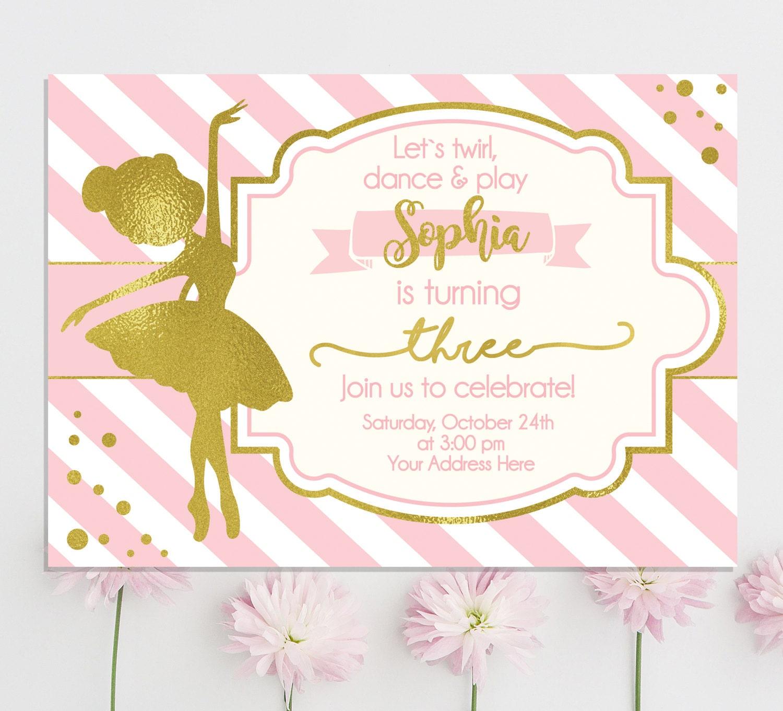 Ballerina Invitation Ballerina Birthday Invitation | Etsy