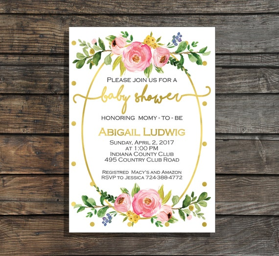 Baby girl shower invitation floral baby shower invitation etsy baby girl shower invitation floral baby shower invitation flowers watercolor baby shower invites garden baby shower shower brunch invitation filmwisefo