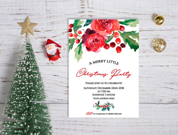 Christmas Invitations.Christmas Party Invitations Christmas Invites Holiday Party Invitation Merry Christmas Invitations Holiday Invites Winter Invitations