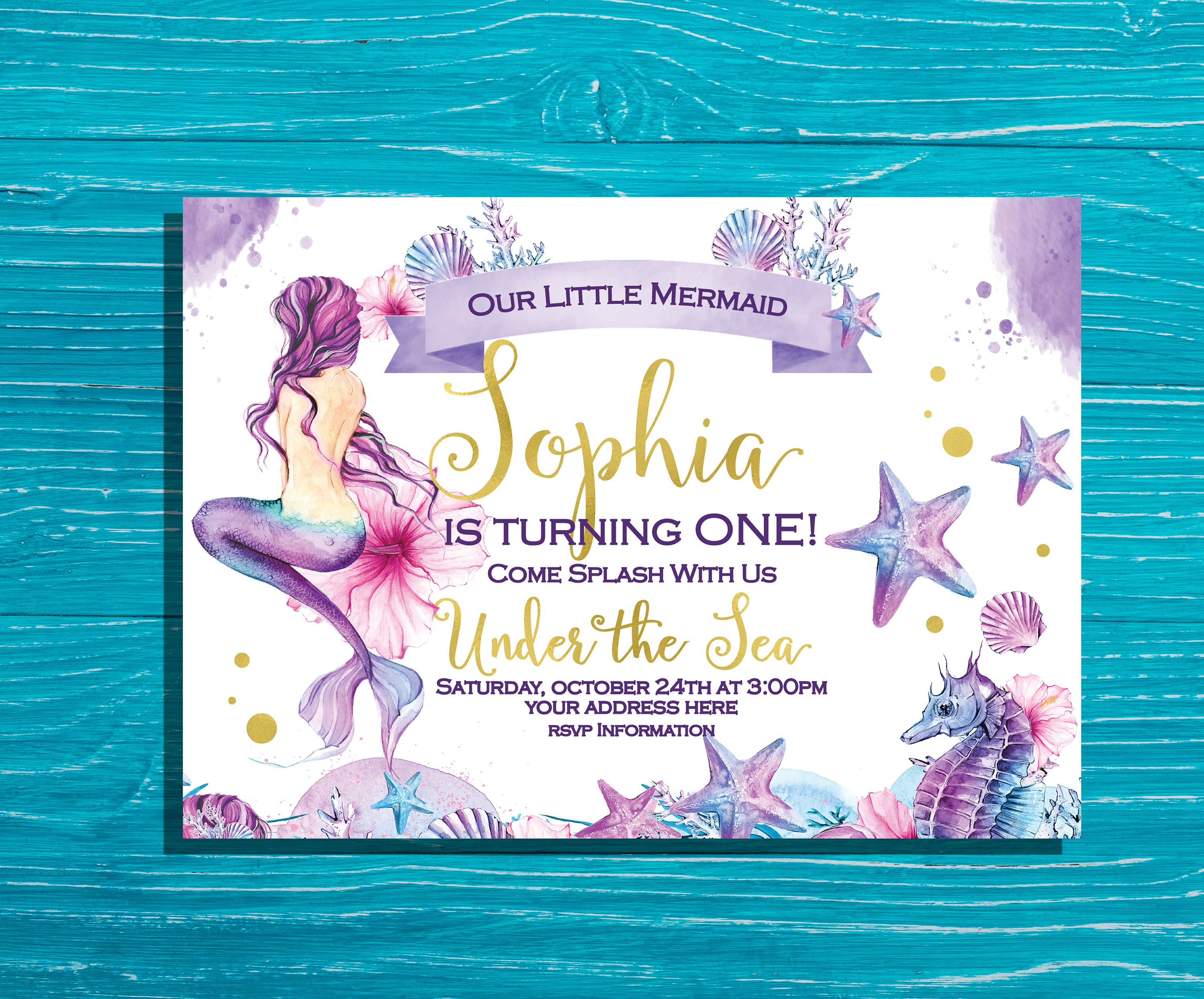 Mermaid Birthday Invitation Under the Sea Party Invitation | Etsy