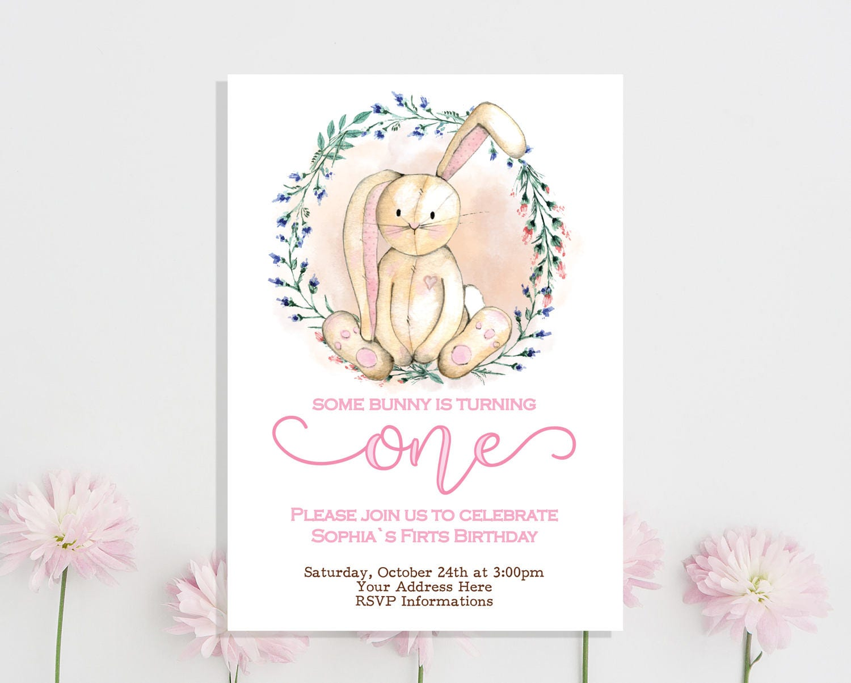 Bunny Birthday Invitation Some Bunny Birthday Invitation Girl | Etsy